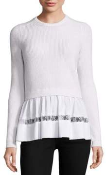 N°21 Ribbed Peplum Top with Lace Trim