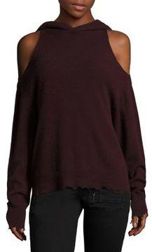 RtA Juno Hooded Bordeaux Cold Shoulder Cashmere Pullover