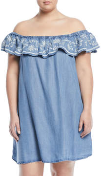 Chelsea & Theodore Plus Off-the-Shoulder Embroidered Chambray Dress, Plus Size