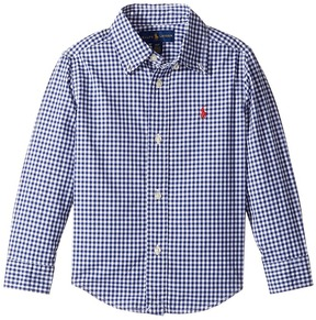 Polo Ralph Lauren Gingham Cotton Poplin Top Boy's Long Sleeve Button Up