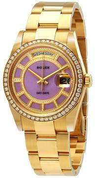 Rolex Day-Date 36 Carousel of Lavender Jade Dial Ladies 18kt Yellow Gold Oyster Watch