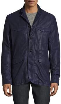 John Varvatos Men's Leather Officers Jacket