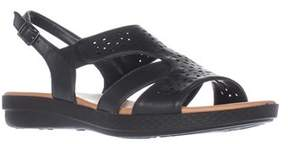 Easy Street Shoes Bolt Flat Slingback Sandals, Navy.