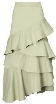 Banana Republic Asymmetrical Cascade Ruffle Maxi Skirt