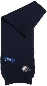 Dolce & Gabbana Virgin Wool Knit Scarf W/ Sport Patches