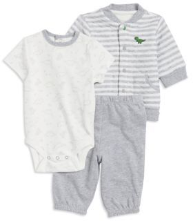 Little Me Baby Boys Three-Piece Jacket Bodysuit & Pants Printed Set