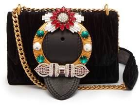 Miu Miu Miu Lady Matelasse Velvet Cross Body Bag - Womens - Black