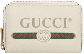 Gucci White Logo Zip Around Wallet