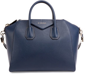 Givenchy Antigona Medium Sugar Goatskin Satchel Bag, Night Blue