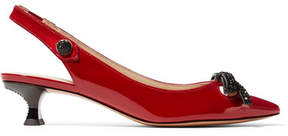 Marc Jacobs Abbey Crystal-embellished Patent-leather Slingback Pumps - Red