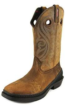 Rocky Mens Outridge One Leather Square Toe Mid-calf Western Boots.