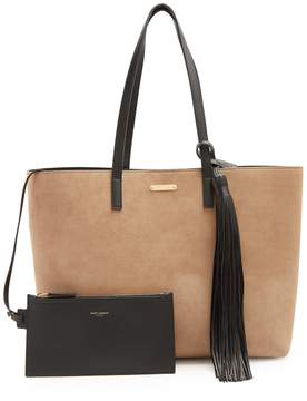 Saint Laurent Shopping suede tote - BEIGE - STYLE