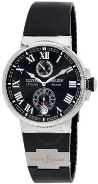 Ulysse Nardin Marine Chronometer Automatic Black Dial Black Rubber Men's Watch