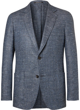 Richard James Blue Slim-Fit Slub Silk, Wool And Cashmere-Blend Blazer