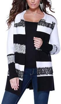 Belldini Winter White & Black Lace Stripe Open Cardigan - Women