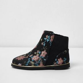 River Island Mini girls black jacquard chelsea boots