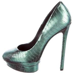Brian Atwood Embossed Round-Toe Pumps
