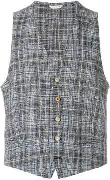 Manuel Ritz checked textured waistcoat