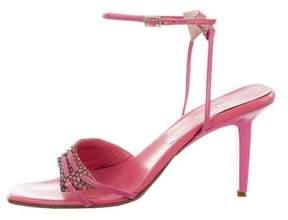 Sergio Rossi Snakeskin Ankle-Strap Sandals