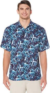 Cubavera Big & Tall Pastel Printed All over Leaf Printed Shirt