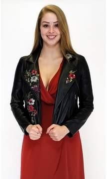 Ark & Co Freshest Florals Vegan Leather Moto Jacket