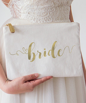 Cathy's Concepts 'Bride' Gold Foil Clutch