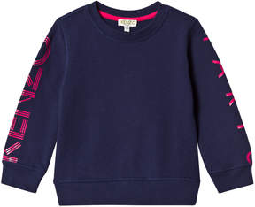 Kenzo Navy and Pink Logo Sweatshirt