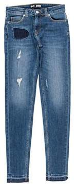 BLK DNM Distressed Mid-Rise Jeans