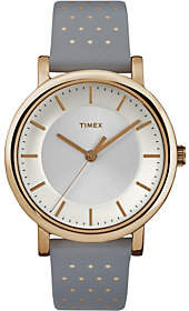 Timex Women's Classic Rosetone Gray Leather Strap Watch
