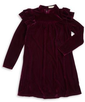 Soprano Girl's Velvet Ruffle-Sleeve Dress