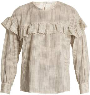 Masscob Ruffle-trimmed checked-cotton top