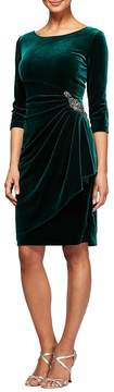 Alex Evenings 3/4-Sleeve Ruched Velvet Dress