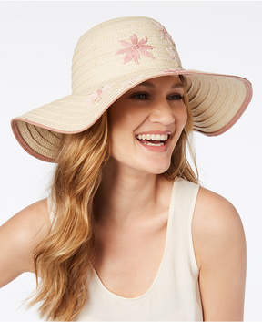 INC International Concepts I.n.c. Embroidered Flower Floppy Hat, Created for Macy's