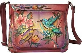 Anuschka Anna by Women's Genuine Leather Large Cross-Body Handbag | Zip-Top Multi-Compartment Organizer | Birds in Paradise