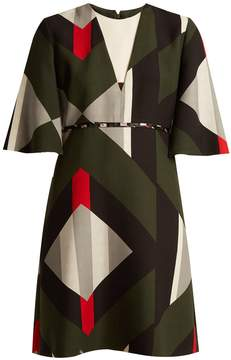 Fendi Lozenges-print fluted-sleeved wool-blend dress