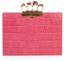 Alexander McQueen Four-Ring Croc-Embossed Leather Clutch