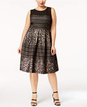 Sangria Plus Size Illusion Sequined Striped Fit & Flare Dress