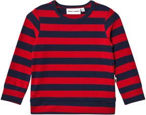 Mini Rodini Red Blockstripe Long Sleeve Cuff T-Shirt