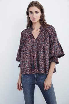 Velvet by Graham & Spencer JAYLA PRINTED COTTON PINTUCK PEASANT TOP