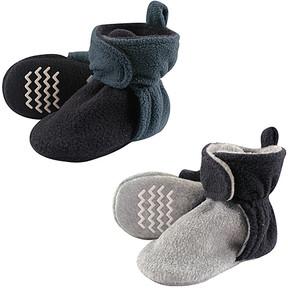 Hudson Baby Blue & Gray Non-Skid Fleece Booties Set - Boys