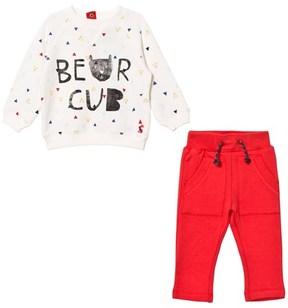 Joules Cream Bear Cub Print Sweatshirt and Red Bottoms Set