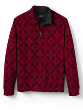 Lands' End Men's Tall Bedford Rib Printed Quarter-Zip Pullover Mock-Rich Garnet Snowflake
