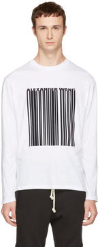 Alexander Wang White Long Sleeve Barcode T-Shirt