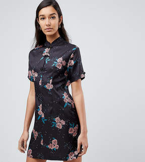Fashion Union Tall High Neck Dress In Vintage Floral