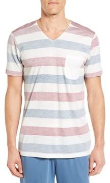 Daniel Buchler Men's Reverse Stripe Pima Cotton & Modal V-Neck T-Shirt