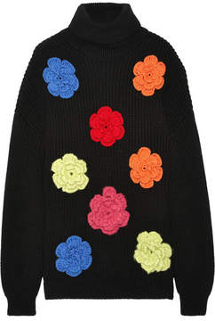 Moschino Oversized Floral-appliquéd Wool Sweater - Black