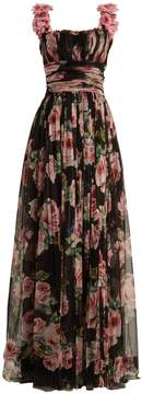 Dolce & Gabbana Rose-print silk-tulle gown