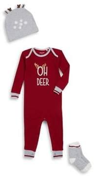 Petit Lem Baby Boy's Three-Piece Oh Deer Beanie, Socks and Footies Pajama Set