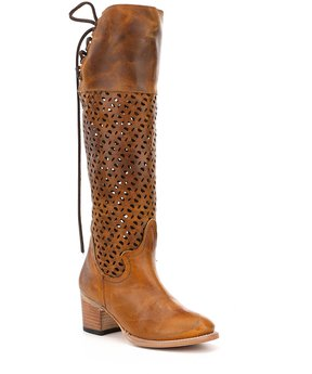 Freebird Creek Laser Cut Design Back Lace Detail Riding Boots