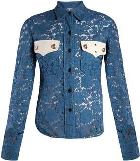 Calvin Klein Point-collar cotton-blend lace shirt